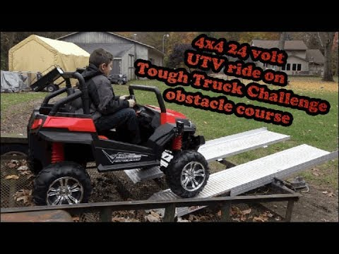 Custom 4x4 24 volt ride on tough truck obstacle coarse challenge