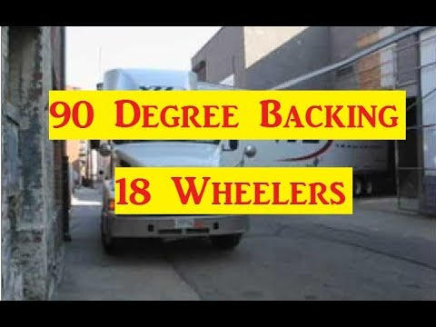 18 wheeler cdl 90 degree and 45 degree backing examples with your tractor trailer