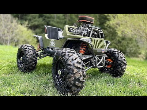 100hp 4x4 power wheels gets long travel suspension and off road tires! full send!