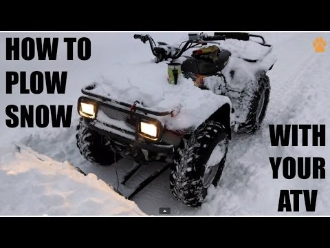 How to plow snow with your atv // country cycles atv plow in action // arctic cat 500